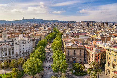 Valokuva Barcelona Spain, high angle view city skyline at La Rambla street