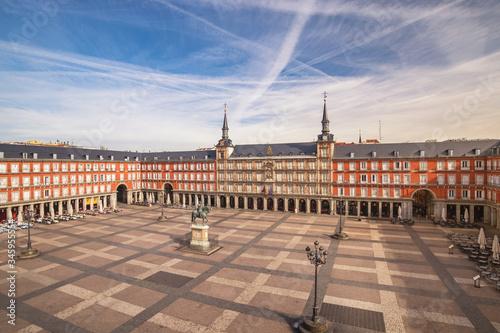 Valokuva Madrid Spain, aerial view city skyline at Plaza Mayor empty nobody