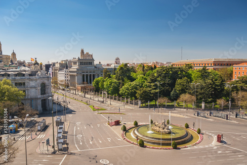 Madrid Spain, city skyline at Independence Square and Cibeles Fountain nobody em Canvas-taulu