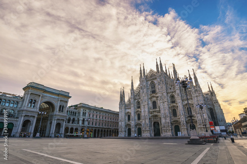 Fototapeta Milan Italy, city skyline sunrise at Milano Duomo Cathedral empty nobody obraz