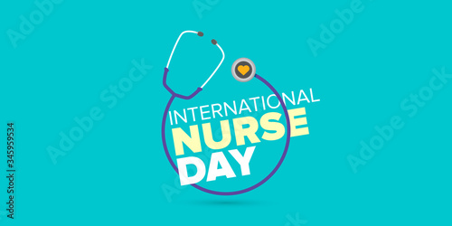 vector international nurse day greeting card or horizontal banner with stethoscope isolated on azure background Canvas Print