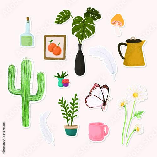 Set of botanical watercolor sticker doodle vector Canvas Print
