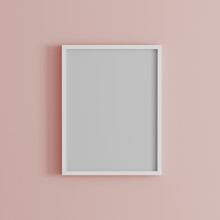 Blank Frame On Light Pink Wall...