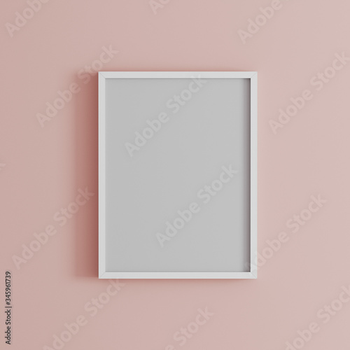 blank frame on light pink wall mock up, vertical white poster frame on wall,  pi Canvas