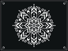Mandala Background In Arabic Islamic East Style. Decorative Mandala For Print, Poster, Cover, Brochure, Flyer, Banner. Arabic And Mandala Background In Black And White. Seamless Arabic Background.