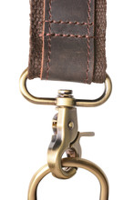 Genuine Leather Bag Strap With A Carabiner Fastened On The Ring. Isolated On A White Background