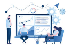 Stock Market Data Analysis. Team Of Statistical Analysts Or Businesspeople Analyzing Statistical Information.