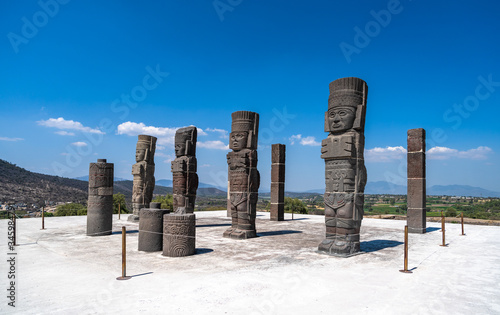 Toltec Warriors or Atlantes columns at Pyramid of Quetzalcoatl in Tula, Mexico Canvas Print