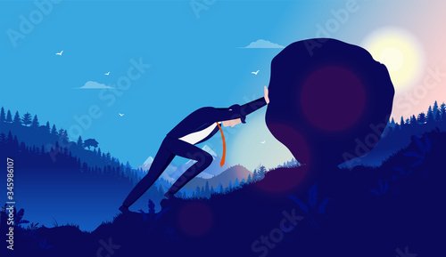 Heavy task and problems - Business man pushing heavy rock up hill with sun mountains and forest in background Canvas Print