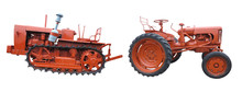 Old Red Tractors Isolated Over White Background