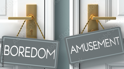 amusement or boredom as a choice in life - pictured as words boredom, amusement Canvas Print