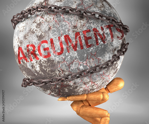 Arguments and hardship in life - pictured by word Arguments as a heavy weight on Canvas Print
