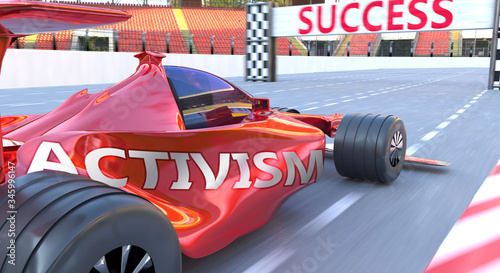 Activism and success - pictured as word Activism and a f1 car, to symbolize that Canvas Print