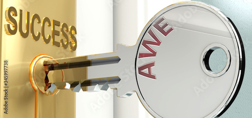 Photo Awe and success - pictured as word Awe on a key, to symbolize that Awe helps ach