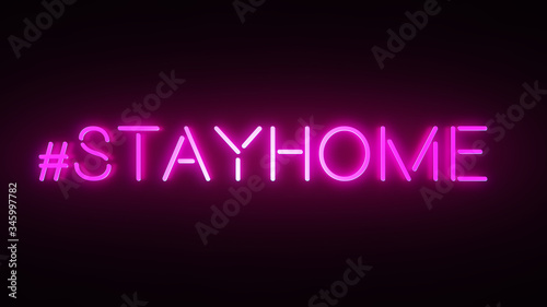 Hashtag Stay Home in pink neon design. Trendy phrase for your banner templates.