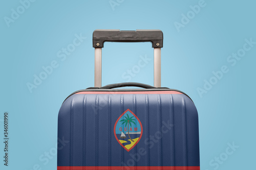 Baggage with Guam flag print tourism and vacation concept. Canvas Print