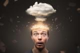 Fototapeta Miasto - Portrait of a man with an exploding mind