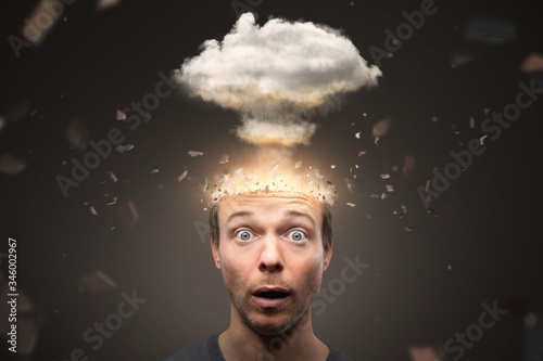 Fototapeta Portrait of a man with an exploding mind