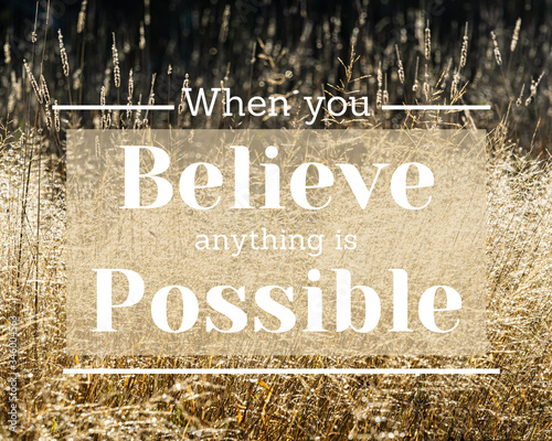 Valokuvatapetti Inspirational quote - When you believe anything is possible