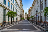 Fototapeta Uliczki - Budapest, Hungary - May 4, 2020: Empty Zrinyi street at St. Stephens Basilica on Budapest center.
