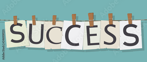 word Success attached to the rope with hairpins Canvas Print