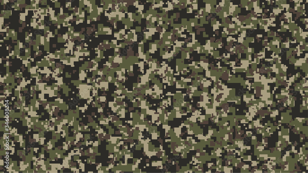 Fototapeta Brown, green and black Pixel Camouflage. Khaki Digital Camo background, military pattern, army and sport clothing, urban fashion. Vector Format. 16:9 aspect ratio.