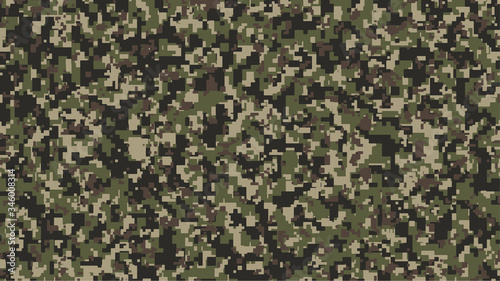 Brown, green and black Pixel Camouflage Wallpaper Mural