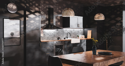 Fototapeta Scandinavian style black kitchen with patterned tiles and bedroom obraz