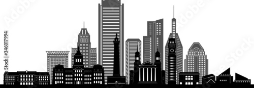 BALTIMORE MARYLAND City Skyline Silhouette Cityscape Vector