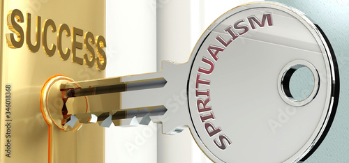 Spiritualism and success - pictured as word Spiritualism on a key, to symbolize Фотошпалери