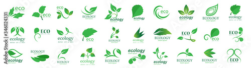 Obraz Collection Of Eco And Organic Logo Set - Isolated On White Background - Vector. Eco And Organic Logo Useful For Leaf Icon, Ecology Logo, Eco Symbol And Template Design. Ecology Tree Icons - fototapety do salonu