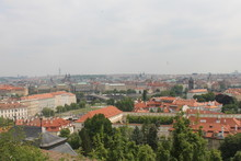 View From The Top Of The Mountain To The Town With Red-tiled Roofs Of Prague Czech Republic Europe