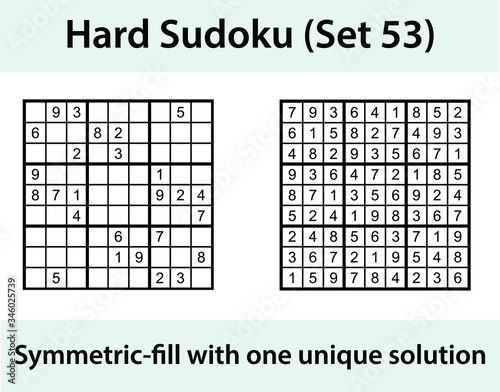 Photo Vector Sudoku puzzle with solution - hard difficulty level