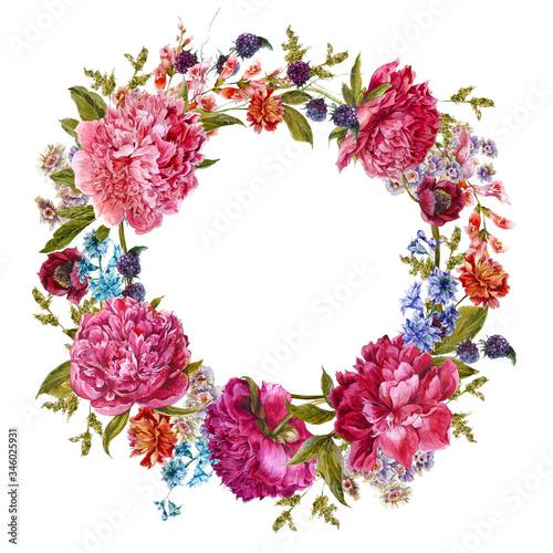 Leinwandbilder - Watercolor burgundy peonies, natural dark pink peonies flower