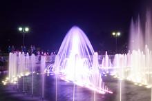 Night Fountain Show At Tsaritsyno Park