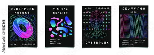 Billede på lærred Set of synthwave style posters with geometric surreal elements