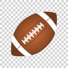 American Football Ball, Isolated, Vector Illustration.