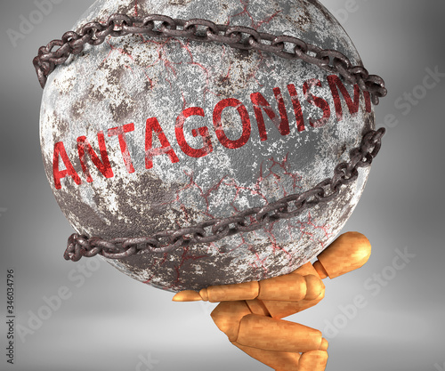 Photo Antagonism and hardship in life - pictured by word Antagonism as a heavy weight