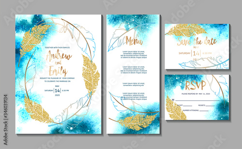 Fényképezés Wedding invitation card with abstract watercolor background and gold feathers