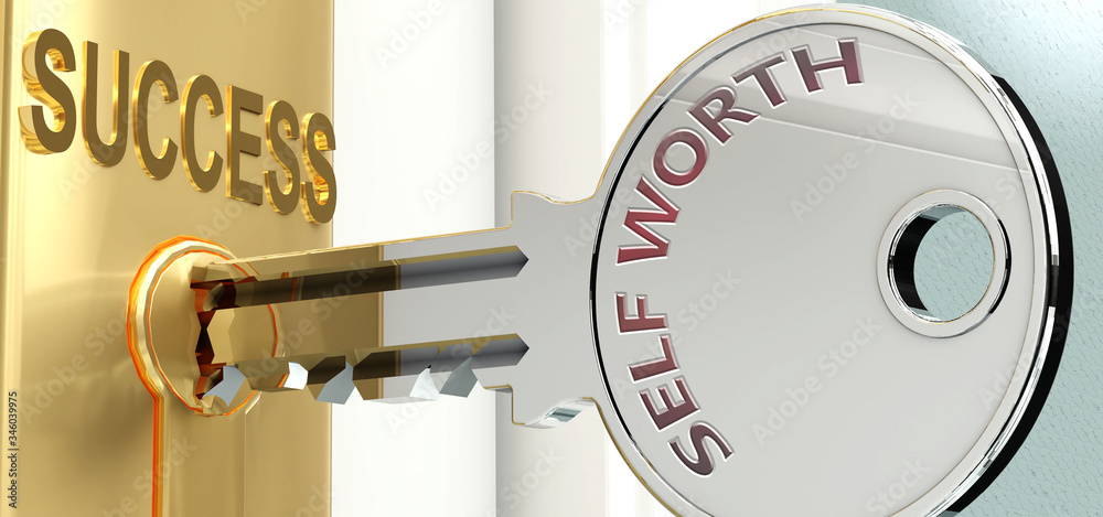Fototapeta Self worth and success - pictured as word Self worth on a key, to symbolize that Self worth helps achieving success and prosperity in life and business, 3d illustration
