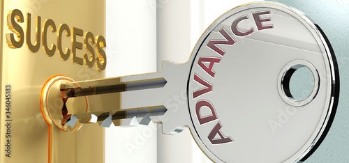 Photo Advance and success - pictured as word Advance on a key, to symbolize that Advan