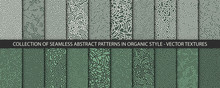 Set Of 20 Vector Seamless Organic Rounded Jumble Maze Lines Patterns In Green Colors. Abstract Backgrounds