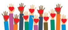 Hands Of Volunteers. Hands Wit...