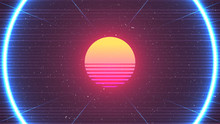 Cyberpunk Background. 80s Sun ...