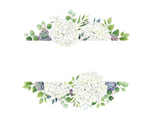 Greenery, White Hydrangea And Succulent Frame Border On White Background. Beautiful Template For Invite Or Greeting Card, Banner. All Elements Are Isolated And Editable.