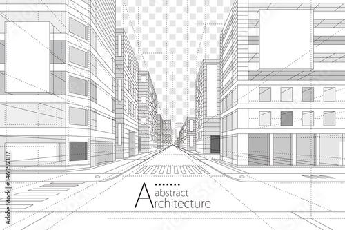 Fototapeta Architecture building construction perspective design,abstract modern urban street building line drawing. obraz