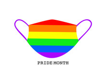 Flat Design Face Mask Rainbow Colorful, Text Pride Month Protection Virus By Medical Mask, Symbol Safety In Pride Month From Coronavirus, LGBT Concept Face Mask Isolation In White Background