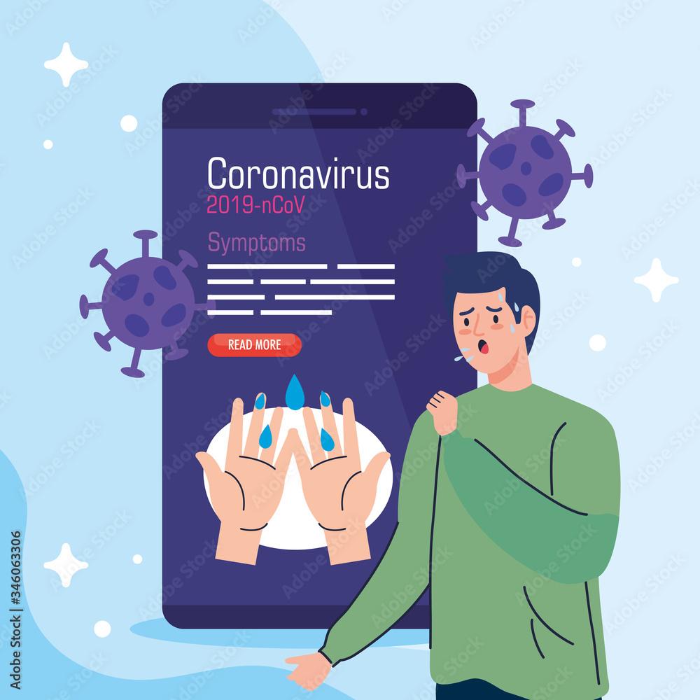 Fototapeta man sick in smartphone with covid19 particles vector illustration design