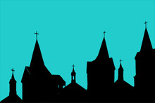 Cityscape Silhouette With Spires On Churches. Crosses On The Top Of Cathedral