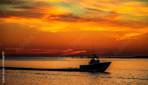 boat at sunset, sea, ocean, water, sky, evening, landscape, travel, dusk, orange, silhouette, island